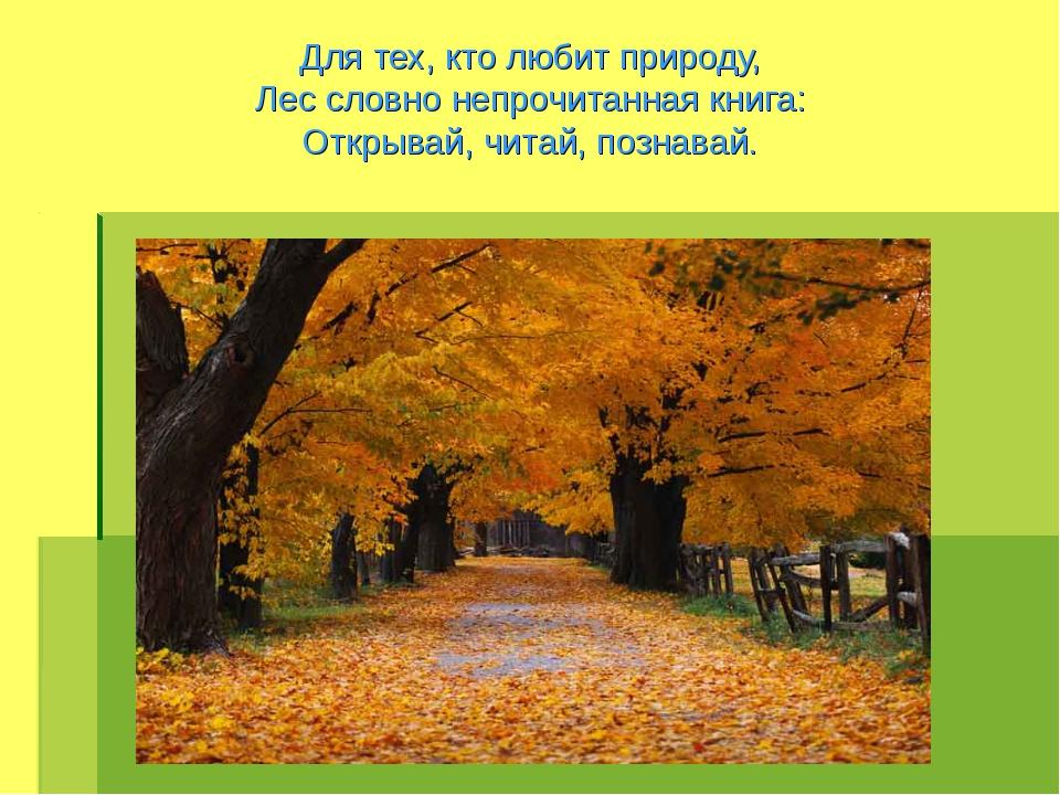 Для тех, кто любит природу, Лес словно непрочитанная книга: Открывай, читай,...