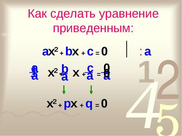 1 Как сделать уравнение приведенным: ax2 + bx + c = 0 : a 0 x2 + px + q = 0
