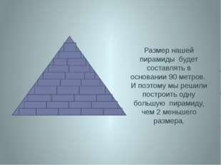 Размер нашей пирамиды будет составлять в основании 90 метров. И поэтому мы ре