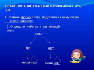 ПРАВОПИСАНИЕ ГЛАСНЫХ В СУФФИКСАХ -ИК-, -ЕК- Измени форму слова, подставляя к