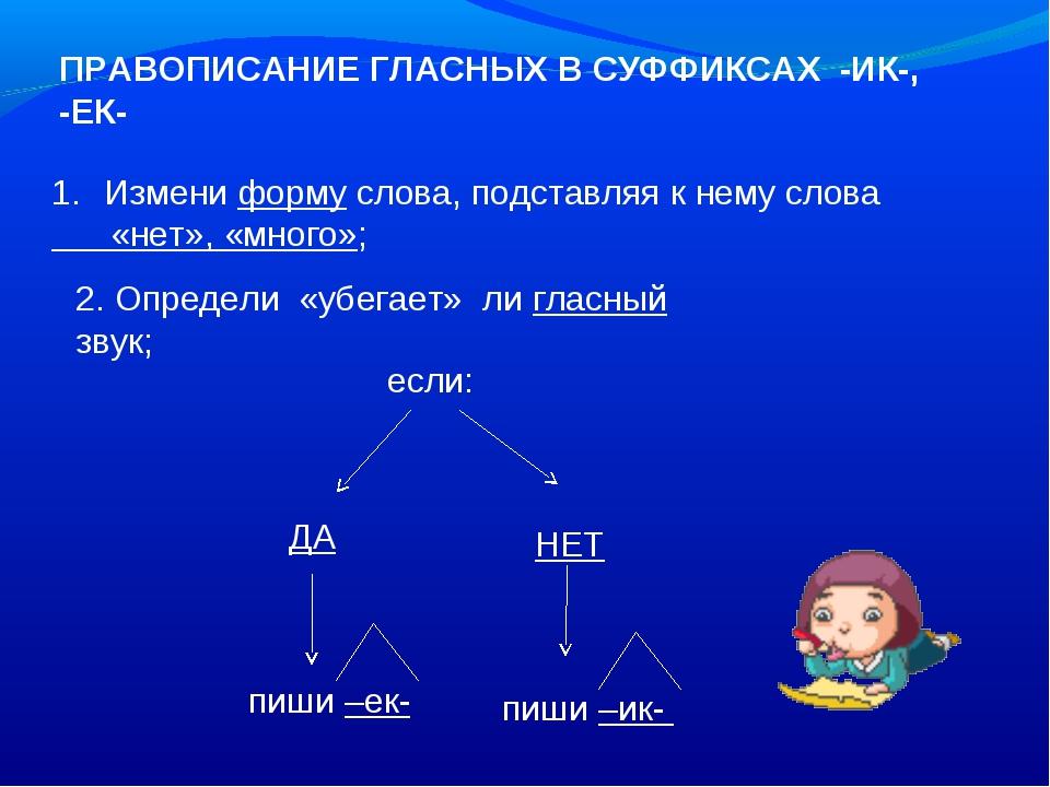 ПРАВОПИСАНИЕ ГЛАСНЫХ В СУФФИКСАХ -ИК-, -ЕК- Измени форму слова, подставляя к...