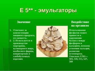 Е 5** - эмульгаторы ЗначениеВоздействие на организм Отвечают за консистенци