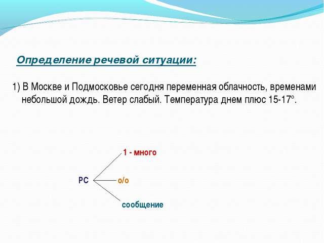 Определение речевой ситуации: 1) В Москве и Подмосковье сегодня переменная об...