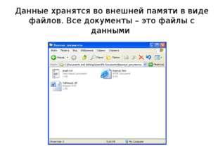 Данные хранятся во внешней памяти в виде файлов. Все документы – это файлы с