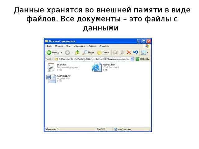 Данные хранятся во внешней памяти в виде файлов. Все документы – это файлы с...