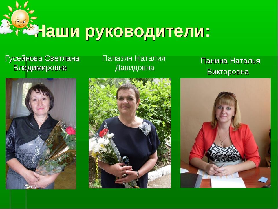 Наши руководители: Гусейнова Светлана Владимировна Панина Наталья Викторовна...