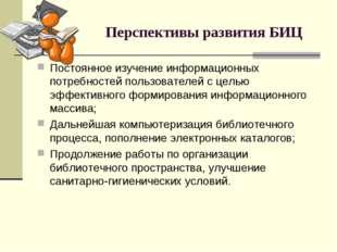 Перспективы развития БИЦ Постоянное изучение информационных потребностей поль