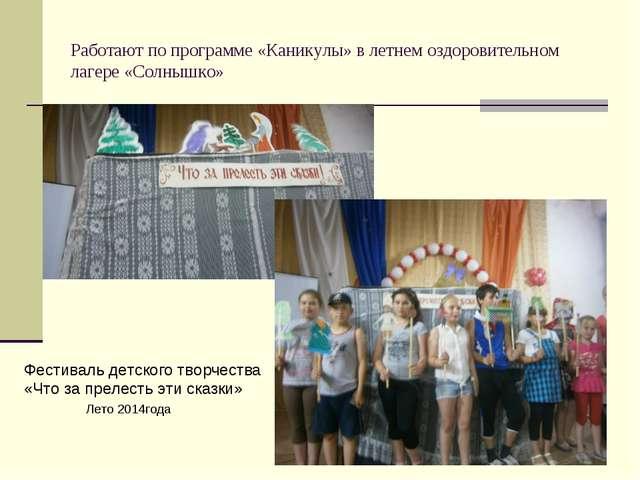 Работают по программе «Каникулы» в летнем оздоровительном лагере «Солнышко» Ф...