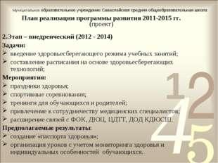 План реализации программы развития 2011-2015 гг. (проект) 2.Этап – внедренчес