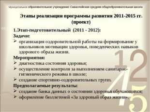 Этапы реализации программы развития 2011-2015 гг. (проект) 1.Этап-подготовите
