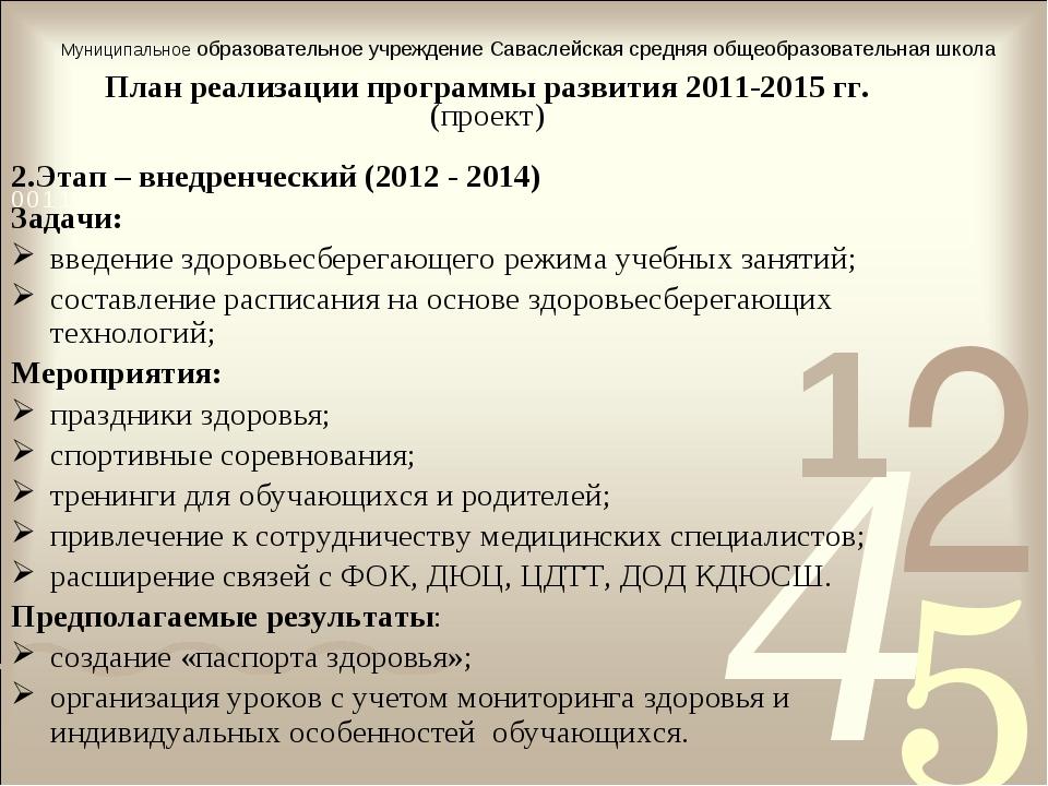 План реализации программы развития 2011-2015 гг. (проект) 2.Этап – внедренчес...