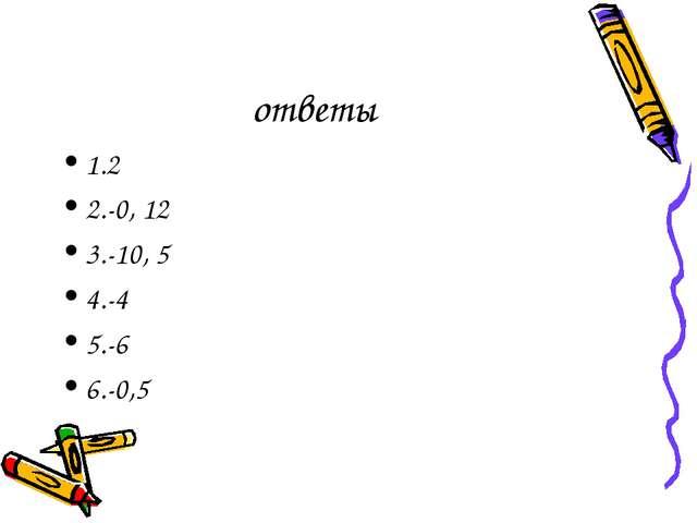 ответы 1.2 2.-0, 12 3.-10, 5 4.-4 5.-6 6.-0,5
