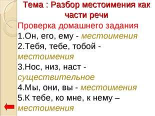 Тема : Разбор местоимения как части речи Проверка домашнего задания 1.Он, его