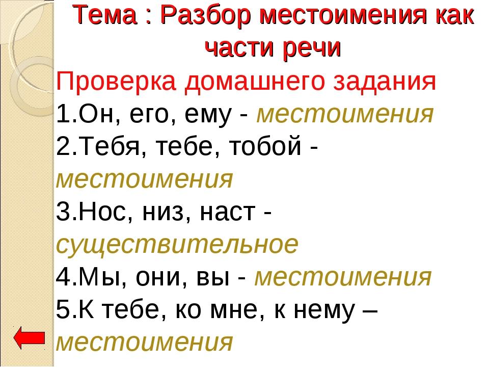 Разбор местоимения как части речи