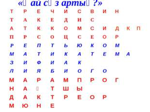 «Қай сөз артық?» ТРЕЧИСВИН ТАКЕДИС АТККОМСИДКП