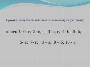 Сравните свои ответы и поставьте соответствующую оценку ключ: 1- б, г; 2- в,