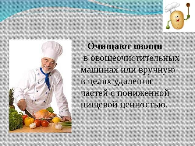 Очищают овощи в овощеочистительных машинах или вручную в целях удаления част...