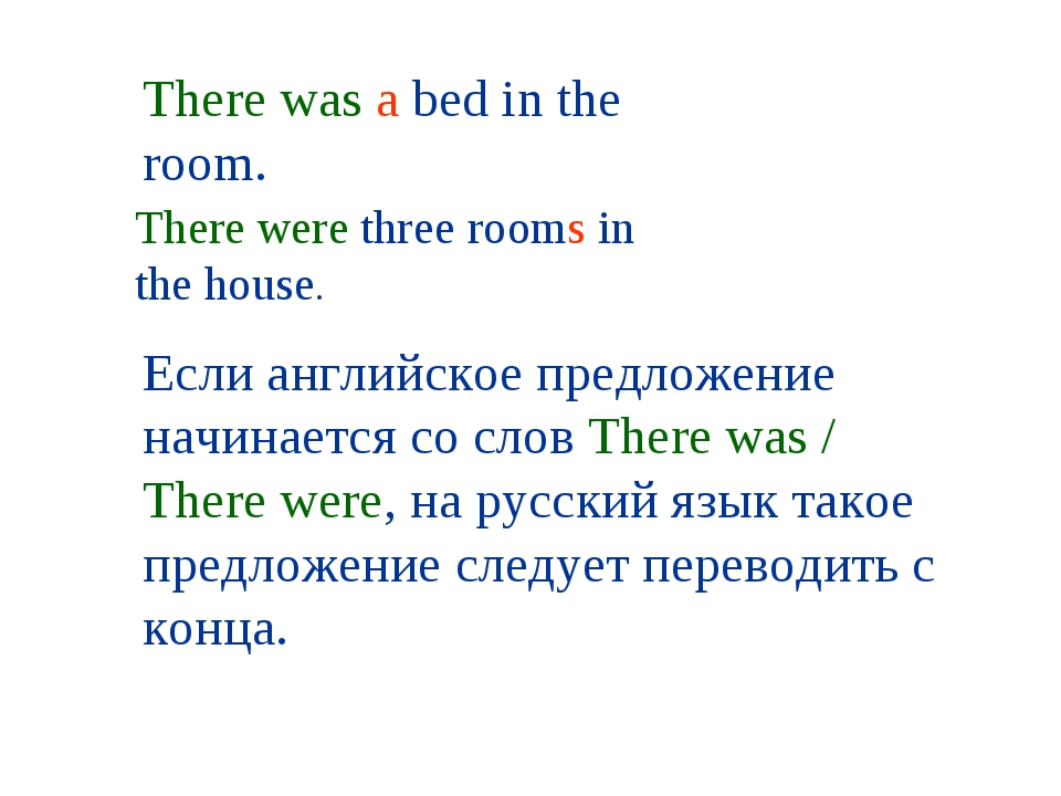 There was a bed in the room. There were three rooms in the house. Если англий...
