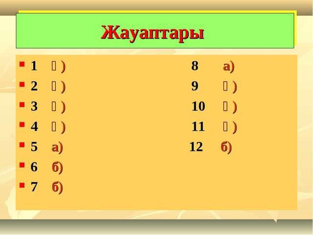 1 ә) 8 а) 2 ә) 9 ә) 3 ә) 10 ә) 4 ә) 11 ә) 5 а) 12 б) 6 б) 7 б) Жауаптары