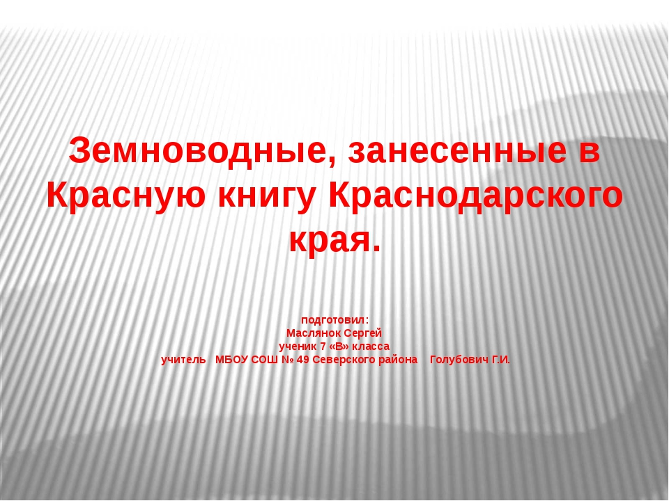 Земноводные, занесенные в Красную книгу Краснодарского края. подготовил: Мас...