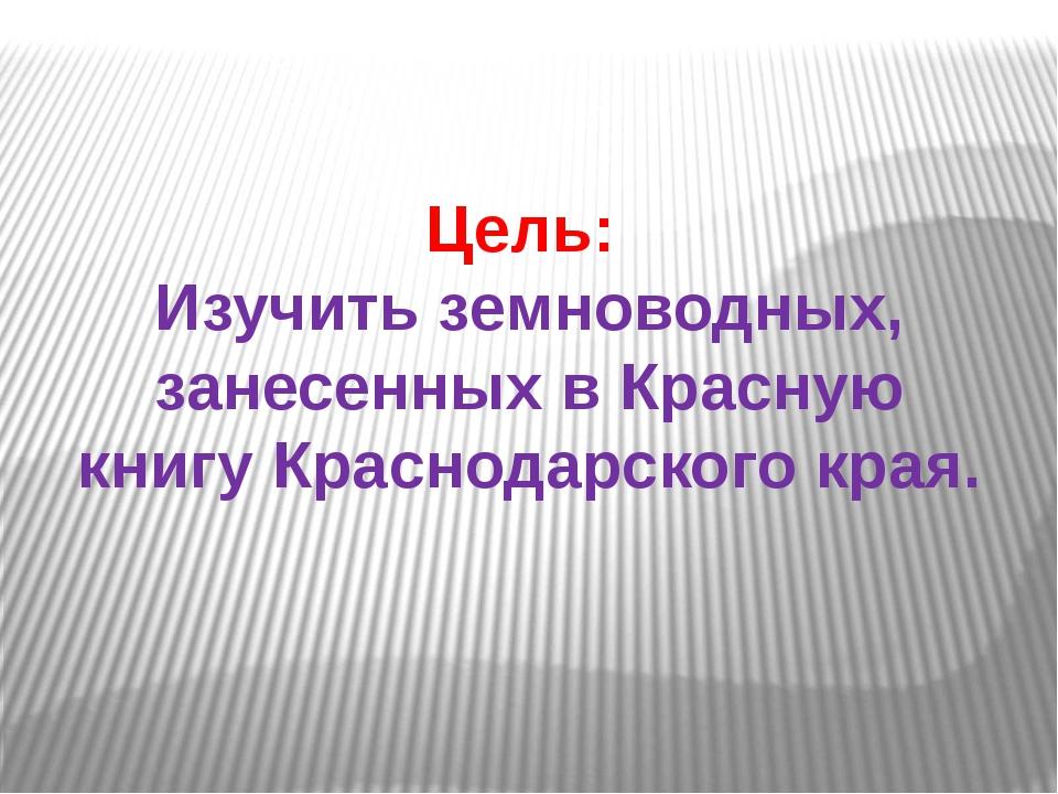 Цель: Изучить земноводных, занесенных в Красную книгу Краснодарского края.