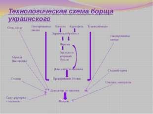 Технологическая схема борща украинского Соль, сахар Пассированные овощи Капус