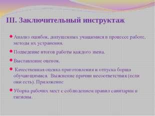 III. Заключительный инструктаж Анализ ошибок, допущенных учащимися в процессе