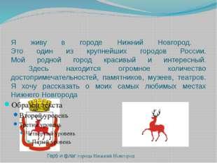 Я живу в городе Нижний Новгород. Это один из крупнейших городов России. Мой р