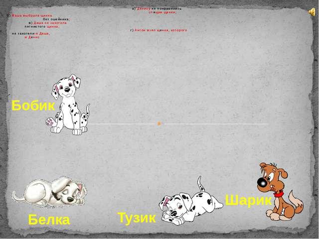 а) Денису не понравились спящие щенки; б) Маша выбрала щенка без ошейника; в)...