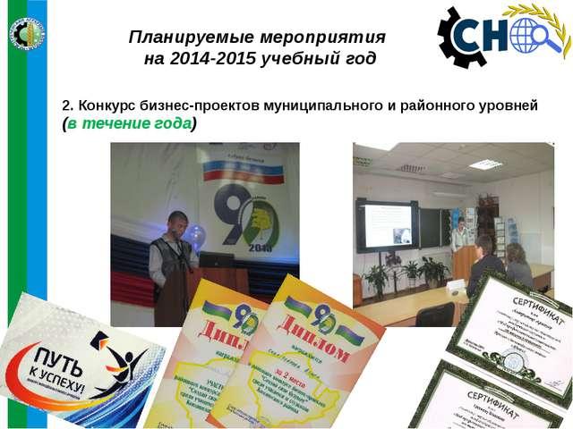 Планируемые мероприятия на 2014-2015 учебный год 2. Конкурс бизнес-проектов м...