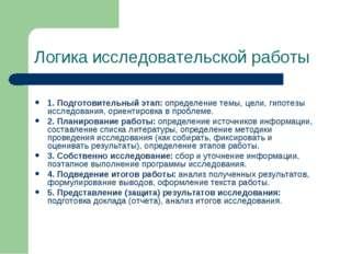 Логика исследовательской работы 1. Подготовительный этап: определение темы, ц