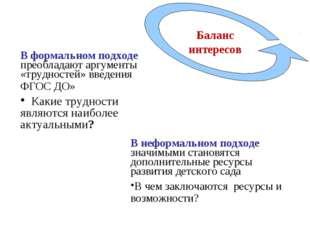 . В формальном подходе преобладают аргументы «трудностей» введения ФГОС ДО» К