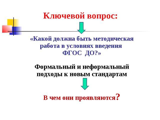 Ключевой вопрос: «Какой должна быть методическая работа в условиях введения Ф...