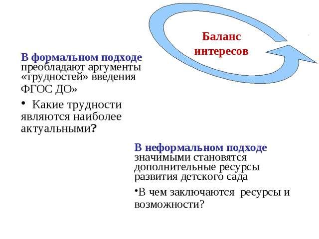 . В формальном подходе преобладают аргументы «трудностей» введения ФГОС ДО» К...