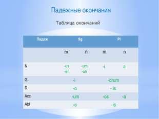 Падежные окончания Падеж Sg Pl m n mn N -us-um -er -on -ia G -i -orum D -o -