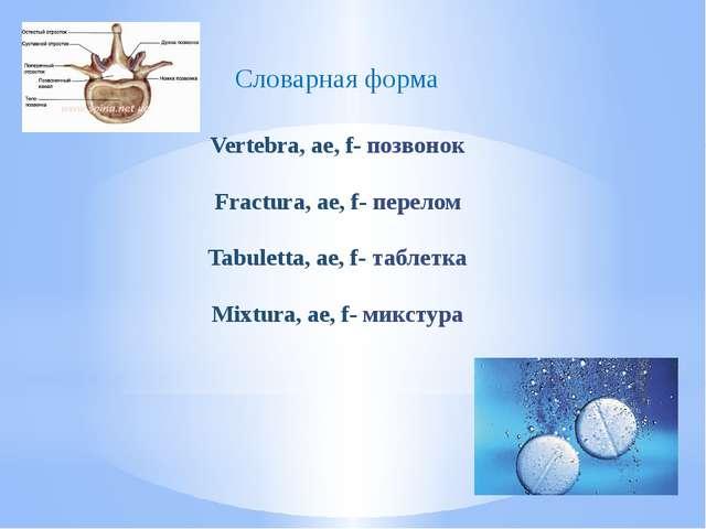 Vertebra, ae, f- позвонок Fractura, ae, f- перелом Tabuletta, ae, f- таблетка...