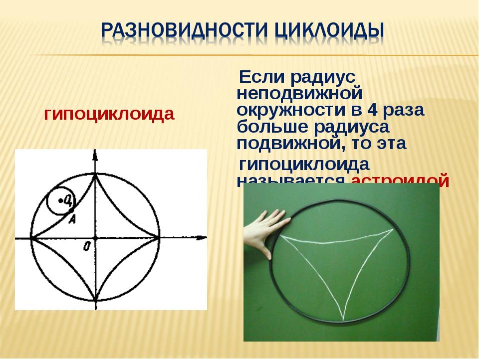 гипоциклоида Если радиус неподвижной окружности в 4 раза больше радиуса подви...