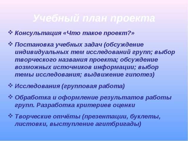 Учебный план проекта Консультация «Что такое проект?» Постановка учебных зада...