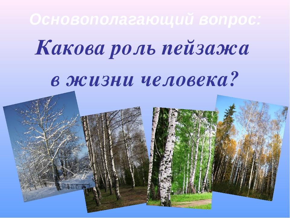 Основополагающий вопрос: Какова роль пейзажа в жизни человека?