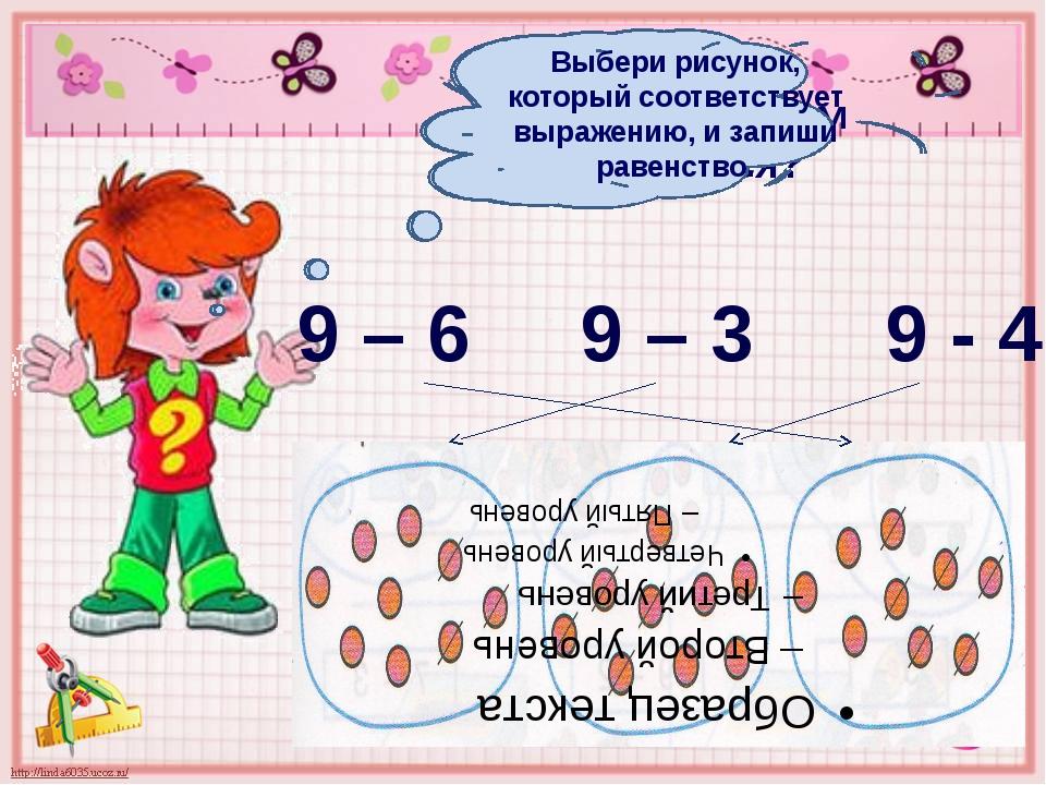 Чем похожи выражения? Чем отличаются? 9 – 6 9 – 3 9 - 4 Выбери рисунок, котор...