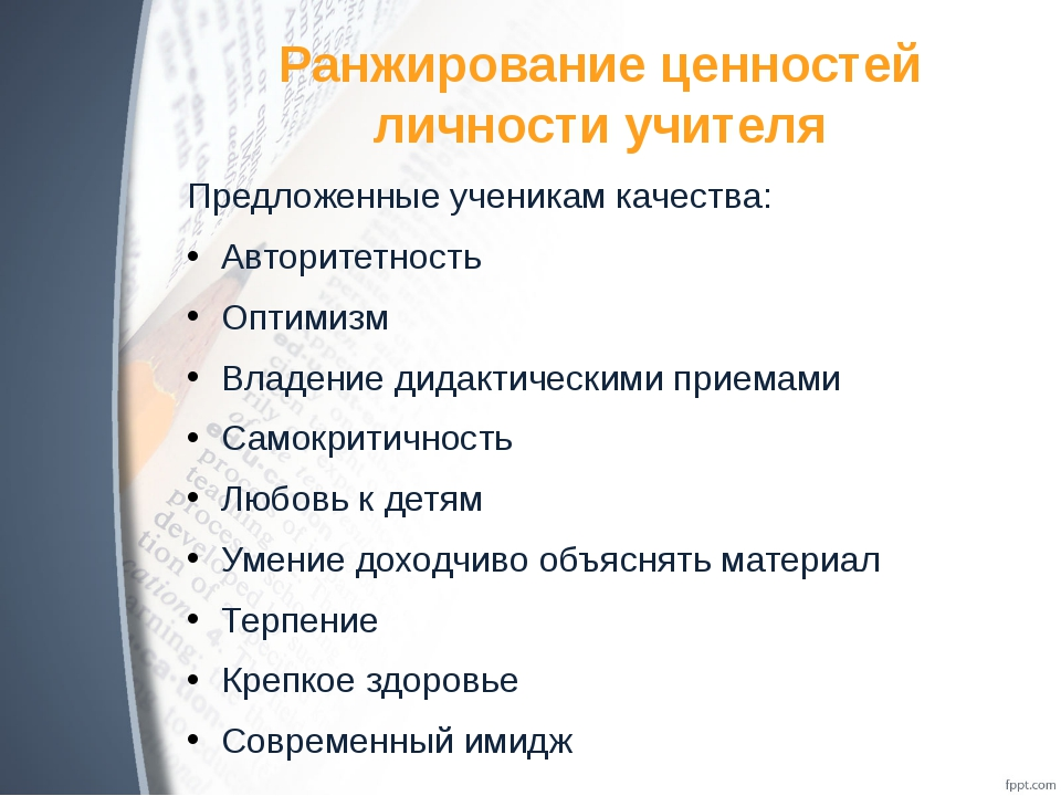 Ранжирование ценностей личности учителя Предложенные ученикам качества: Автор...