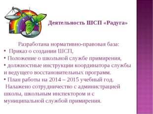 Деятельность ШСП «Радуга» Разработана нормативно-правовая база: Приказ о созд