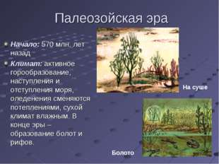 Палеозойская эра Начало: 570 млн. лет назад Климат: активное горообразование,