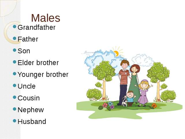 Males Grandfather Father Son Elder brother Younger brother Uncle Cousin Nephe...