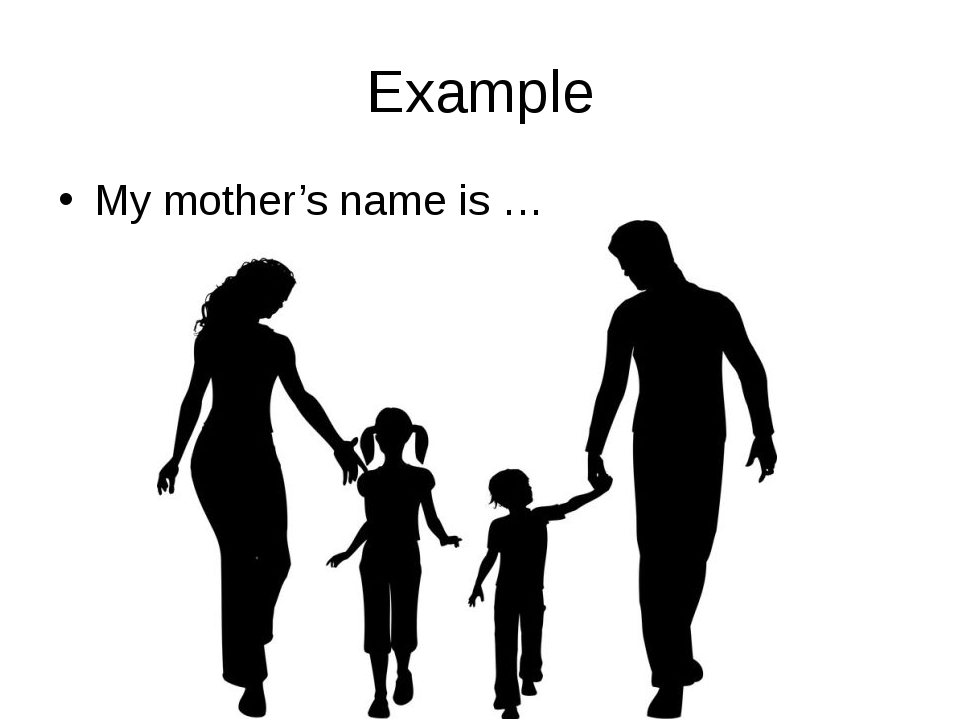 Example My mother's name is …