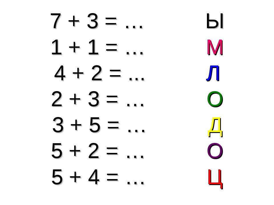 7 + 3 = … Ы 1 + 1 = … М 4 + 2 = ... Л 2 + 3 = … О 3 + 5 = … Д 5 + 2 = … О 5 +...
