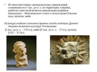 Из многочисленных земледельческих цивилизаций, сложившихся в I тыс. до н. э.