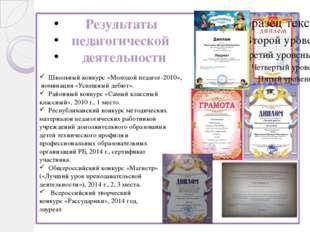 Результаты педагогической деятельности Школьный конкурс «Молодой педагог-201