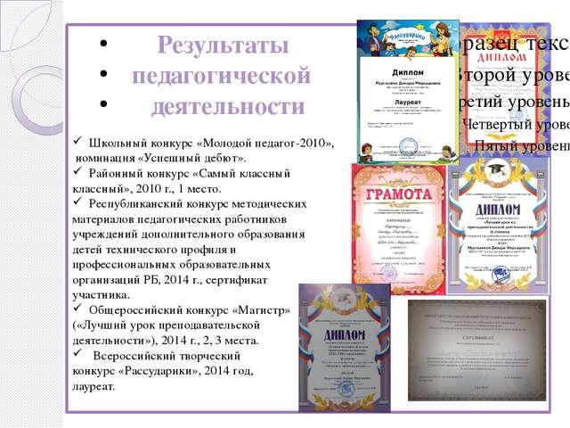 Результаты педагогической деятельности Школьный конкурс «Молодой педагог-201...