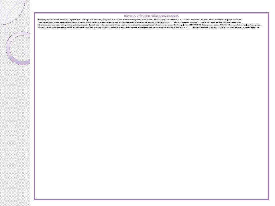 Научно-методическая деятельность Рабочая программа учебной дисциплины «Русски...